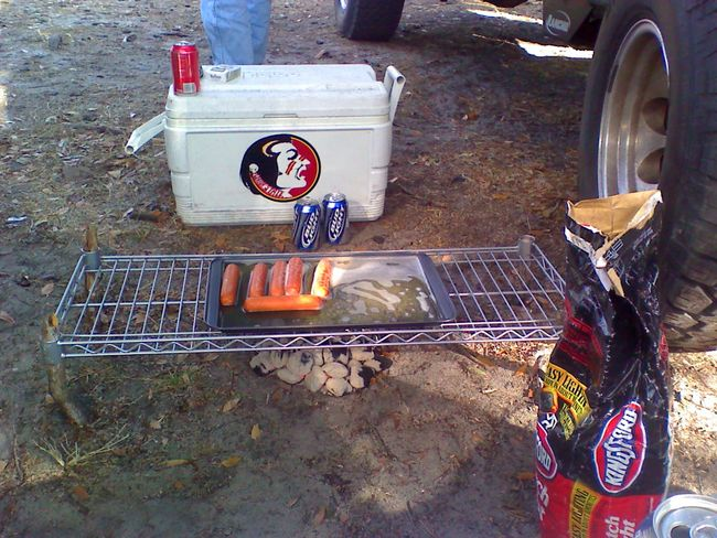 Our makeshift grill at the Monster Jam