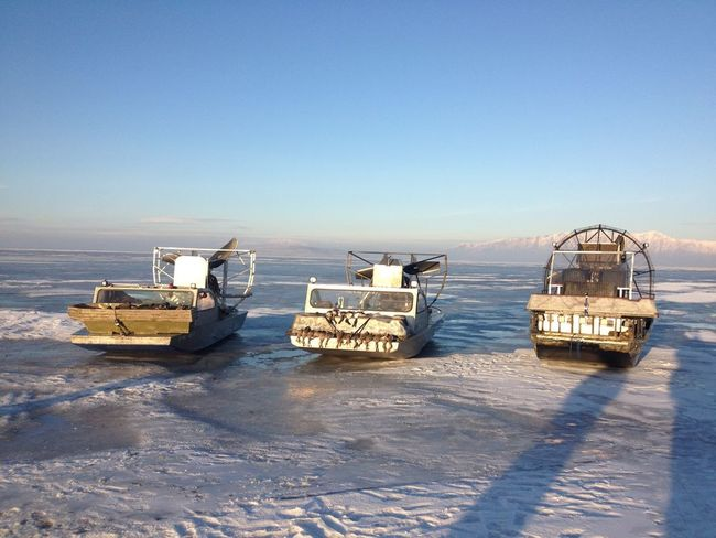 2 utah style boats and 1 FL style on the ice