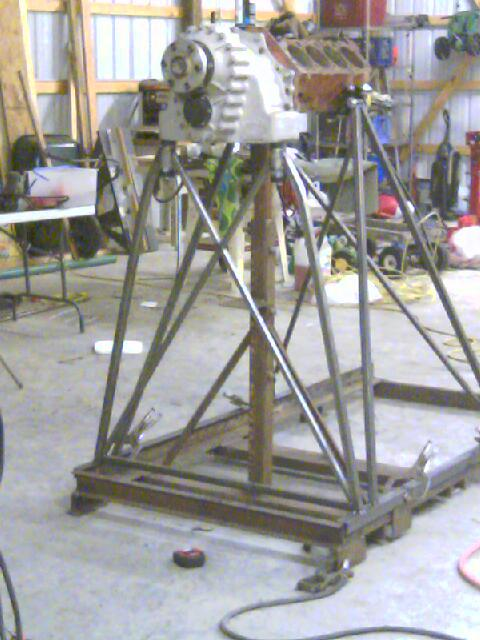 Engine stand being worked on southern airboat picture for How to build an airboat motor